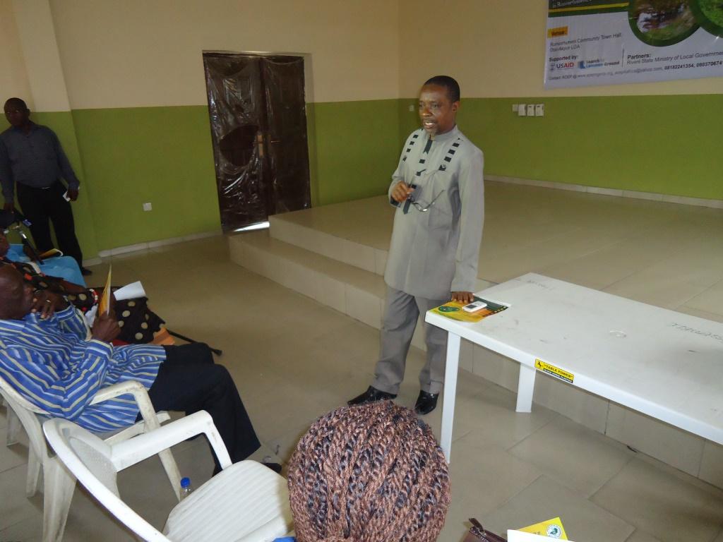 Speech by Mr Samuel Nwokugha during the program.